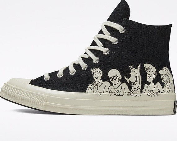 Scooby Doo Converse High Top 70s Mystery Machine Cartoon Black White Custom Bling w/ Swarovski Crystal Chuck Taylor All Star Sneakers Shoes