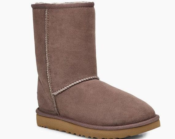 Brown UGG Boots Mole Australia Classic Short Slip on Boot w/ custom Swarovski Crystal Bling Winter Dynamite Rhinestone Ladies Shoe Gift