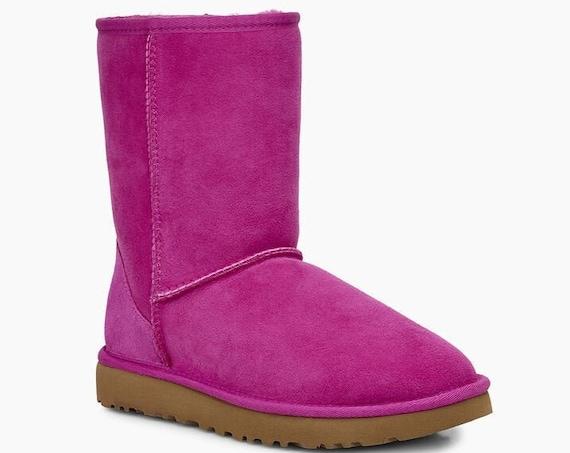 Pink  UGG Boots Fuchsia Australia Classic Short Slip on Boot w/ custom Swarovski Crystal Bling Winter Dynamite Rhinestone Women Shoe Gift