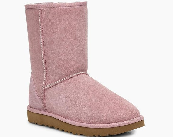 Pink UGGs Boots  Australia Classic Short Slip on Boot w/ custom Swarovski Crystal Bling Winter Dynamite Rhinestone Women Shoe Gift