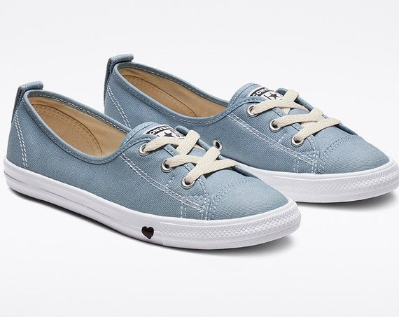 Light Blue Denim Converse Love Heart Slip on Ballet Lace Wedding Bridal w/ Swarovski Crystal Chuck Taylor Rhinestone All Star Sneakers Shoes
