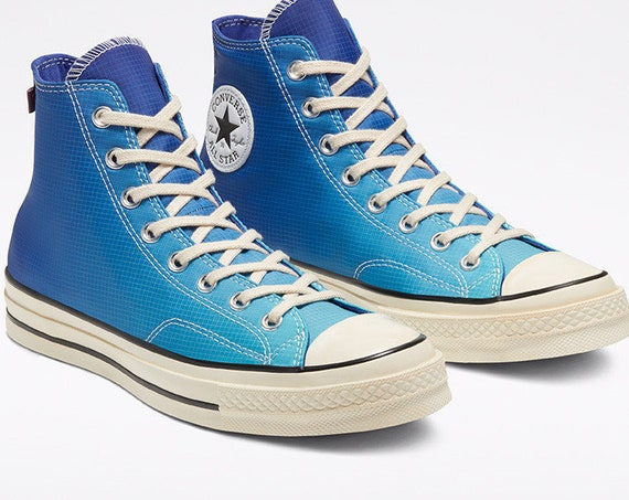 Blue Converse 70 High Ombre Turquoise Water resistant w/ Swarovski Crystal Rhinestone Wedding Chuck Taylor All Star Weather Sneakers Shoes