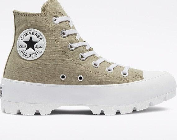 Khaki Lugged Converse Boot Platform Tan Surplus Wedge High Club Kicks Custom w/ Swarovski Crystal Rhinestone Chucks All Star Sneakers Shoes