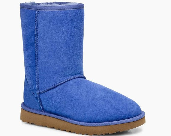 Blue UGG Boots Periwinkle Australia Classic Short Slip on Boot w/ custom Swarovski Crystal Bling Winter Dynamite Rhinestone Women Shoe Gift