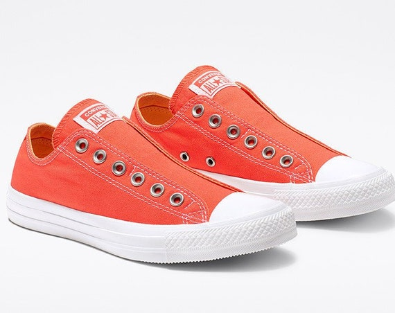 Melon Red Slip on Converse Coral Orange Laceless Kicks w/ Swarovski Crystal Rhinestone Wedding Reception Chuck Taylor Bride Sneakers Shoes