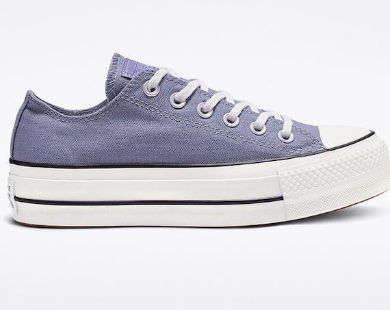 "Indigo Blue Converse Gray 1.5"" Platform lift heel wedge Canvas Low Club w/ Swarovski Crystal Rhinestone Chuck Taylor All Star Sneakers Shoes"