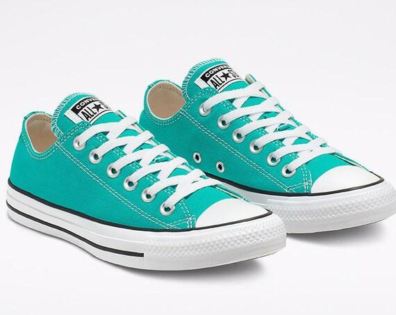 Converse Teal Turquoise Green Blue Turbo Low Bling Custom w/ Swarovski Crystal Rhinestone Jewel Chuck Taylor All Star Wedding Sneakers Shoes