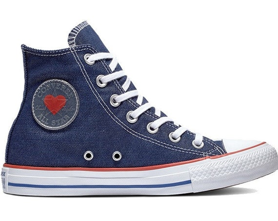 Navy Blue Denim Converse High Top Love Heart Bridal Custom w/ Swarovski Crystal Chuck Taylor Rhinestone Bling All Star Wedding Sneakers Shoe