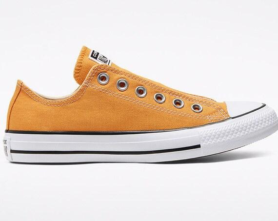 Yellow Converse Gold Sunflower Slip on Spring Laceless w/ Swarovski Crystal Rhinestone Wedding Reception Chuck Taylor Bride Sneakers Shoes