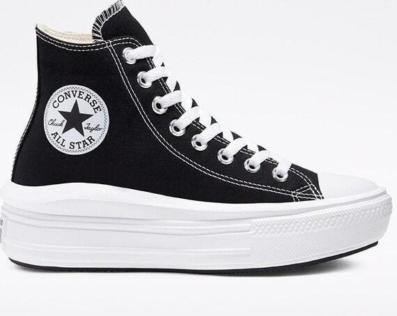 Converse Move on Black White High Top Boot Platform Wedge Lift Club Kicks w/ Swarovski Crystal Rhinestone Chuck Taylor All Star Sneaker Shoe
