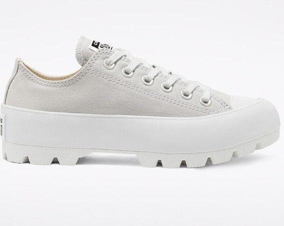 Gray Platform Converse Lugged Low Top Boot Canvas Wedge Club Kicks w/ Swarovski Crystal Bling Rhinestone Chuck Taylor All Star Sneakers Shoe