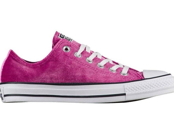 Hot Pink Velvet Converse Low Top W US 8 Fuchsia Magenta w/ Swarovski Crystal Jewel Bridal Chuck Taylor All Star Bride Wedding Sneakers Shoes