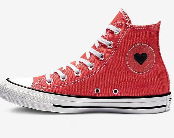 Black Red Converse High Top Love Heart Custom w/ Swarovski Crystal Chuck Taylor Rhinestone Bling All Star Bride Wedding Sneakers Shoe