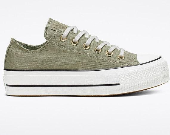 Jade Green Converse Platform lift heels wedge Khaki Canvas Low Top Club w/ Swarovski Crystal Rhinestone Chuck Taylor All Star Sneakers Shoes