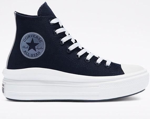Navy Blue Converse Move Obsidian High Boots Platform Lift Club Kicks w/ Swarovski Crystal Rhinestone Chucks All Star Wedding Sneakers Shoes