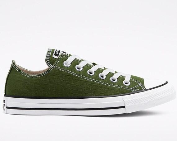 Olive dark Green Converse Renew Low Cypress Bridal w/ Swarovski Crystal Rhinestones Bride Chuck Taylor All Star Wedding Mens Sneakers Shoes