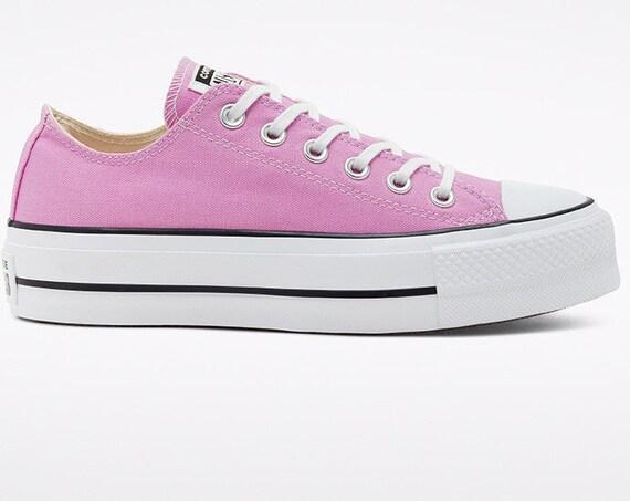 "Purple Peony Pink Converse 1.5"" Platform lift wedge heel Rose Low Club w/ Swarovski Crystal Rhinestone Chuck All Star Wedding Sneakers Shoes"