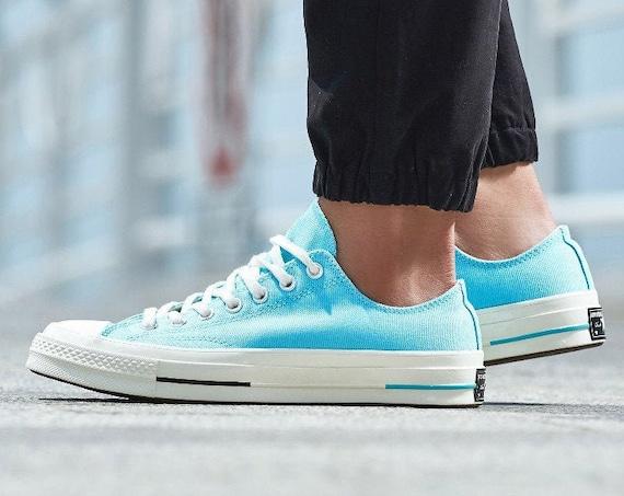 Aqua Blue Converse 70s Premium Low Top Teal Turquoise w/ Swarovski Crystal Rhinestone Kicks Chuck Taylor All Star Bride Wedding Sneaker Shoe
