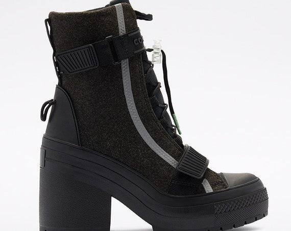 Converse GR 82 XX Ice Felt Black Winter Hi Heel Boots Platform High Top Kicks w/ Swarovski Crystal Rhinestone Chucks All Star Sneakers Shoes