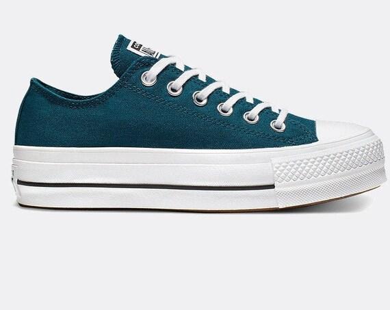 Blue Teal Turquoise Green Converse Platform lift wedge Canvas Low Club w/ Swarovski Crystal Rhinestone Chuck All Star Wedding Sneakers Shoes