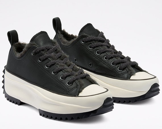Converse Run Star Hike Fur Faux lined Leather Black Winter Boot Platform Low Top Kicks w/ Swarovski Crystal Chucks All Star Sneakers Shoe