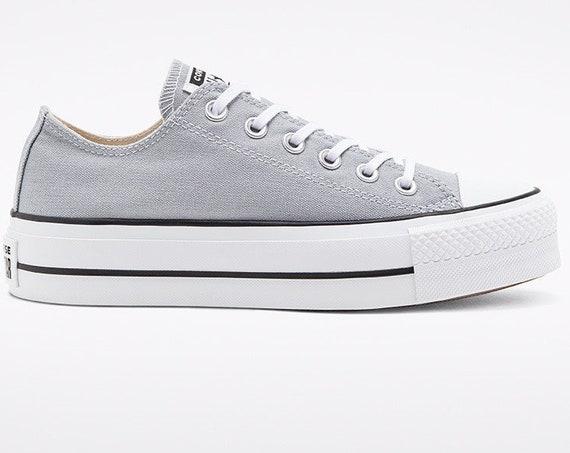 Gray Converse Platform lift heels wedge Wolf Grey Canvas Low Top Club w/ Swarovski Crystal Rhinestone Chuck Taylor All Star Sneakers Shoes
