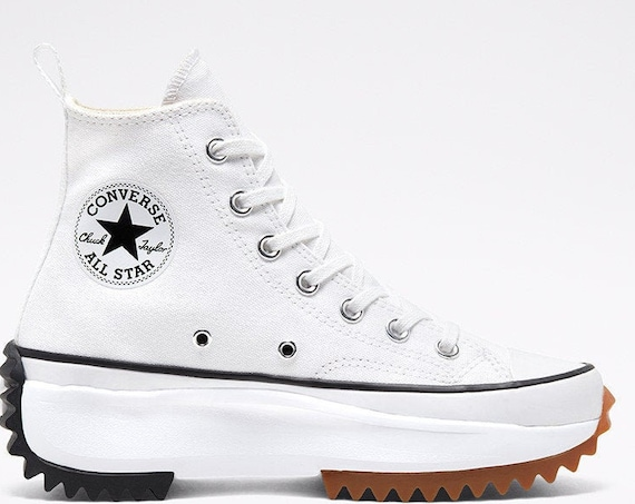 Converse Run Star Hike White Boot Platform Wedge High Top Club Kicks w/ Swarovski Crystal Rhinestones Chuck Taylor All Star Sneakers Shoes