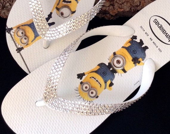 Minions Havaianas Flip Flops Fun Despicable Me White W US 9/10 w/ Swarovski Crystal Clear Rhinestone Bling jewel Custom Shoes Glass Slippers