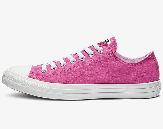 Fuchsia Hot Pink Converse Low Stonewashed Silver Custom w/ Swarovski Crystal Rhinestone Bling Chuck Taylor All Star Wedding Sneakers Shoes