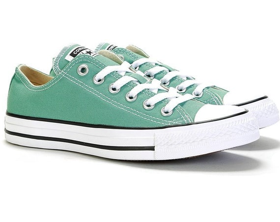 Jade Green Teal Converse Mineral Blue Canvas Low Top Kick w/ Swarovski Crystal Rhinestones Bling Chuck Taylor All Star Wedding Sneakers Shoe