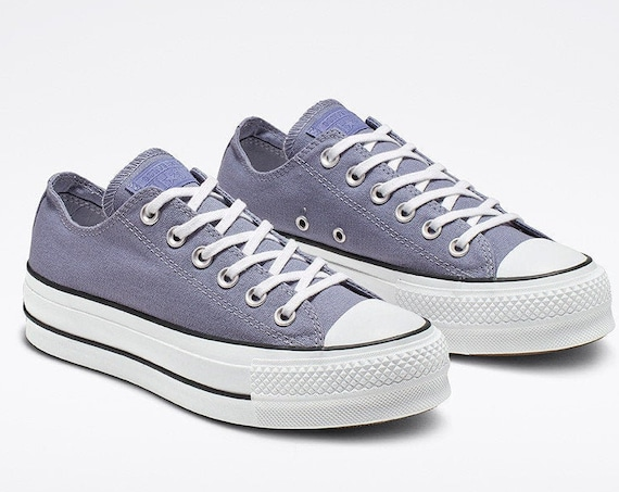 "Indigo Blue Converse Gray 1.5"" Platform lift heel wedge Canvas Low Club w/ Swarovski Crystal Rhinestone Chuck Taylor All Star Sneakers Shoes"