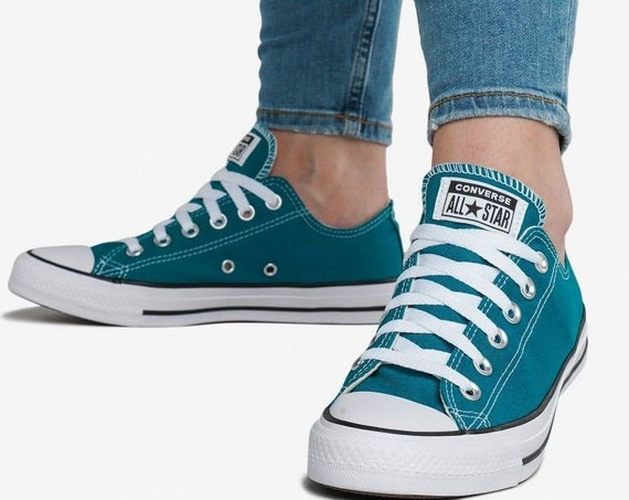 Teal Converse Turquoise Green Blue Spruce Low Top Custom w/ Swarovski Crystal Rhinestone Jewel Chucks Taylor All Star Wedding Sneakers Shoes