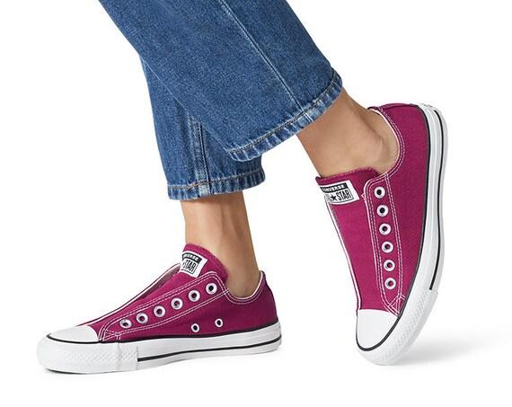 Rose Pink Red Burgundy Converse Slip on Spring Laceless w/ Swarovski Crystal Rhinestone Wedding Reception Chuck Taylor Bride Sneakers Shoes