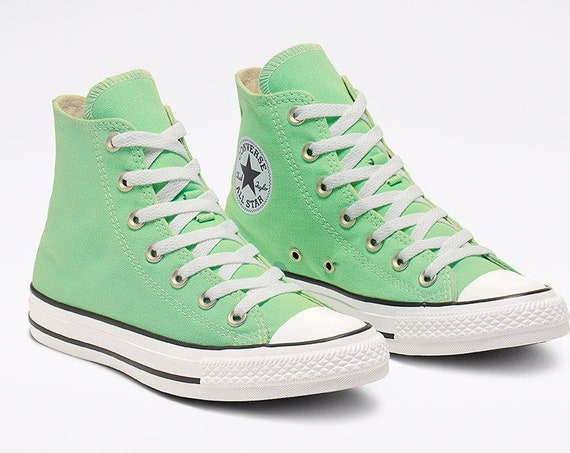 Mint Green Aphid Converse High Top Custom Crystal Bling Chuck Taylor w/ Swarovski Rhinestones All Star Jewels Wedding Sneakers Bridal Shoes