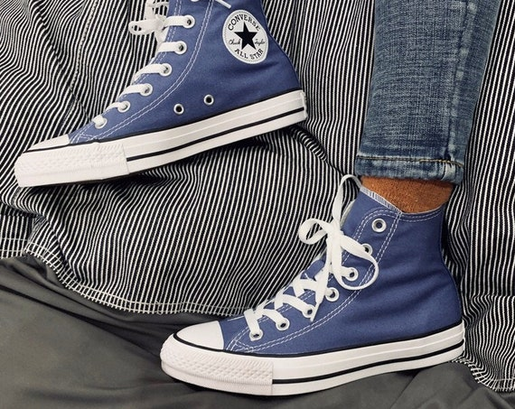 Indigo Royal Blue Converse High Top Wash Custom Crystal Chuck Taylor w/ Swarovski Rhinestone All Star Men Groom Wedding Sneakers Bridal Shoe