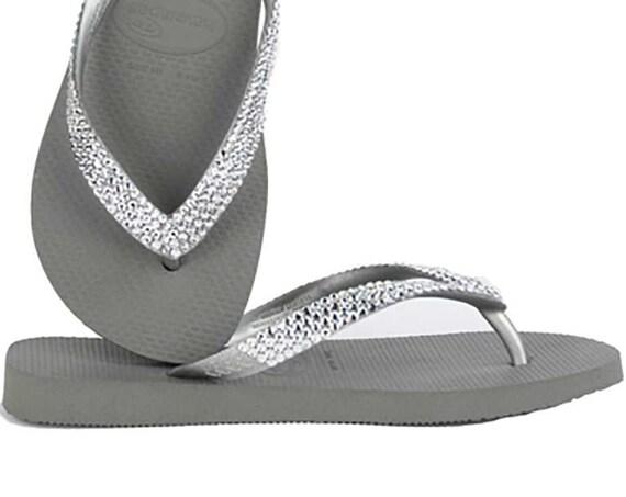 Gray Flip Flops Silver Crystal 1.5 Flat or Wedge Custom w/ Swarovski Bling Jewels Grey Brazilian Glitter Bride Beach Wedding Sandals Shoes