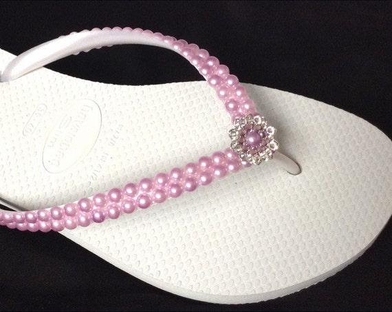 Purple Pearl Flip Flops White Havaianas Slim Violet Light Amethyst Lavender Lilac w/ Swarovski Crystal Silver Filigree Bridal Wedding Shoes