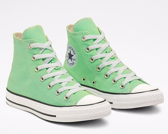 Mint Green Aphid Converse High Top Custom Crystal Bling Chuck Taylor w/ Swarovski Rhinestones All Star Jewels Wedding Sneakers Bridal Shoes