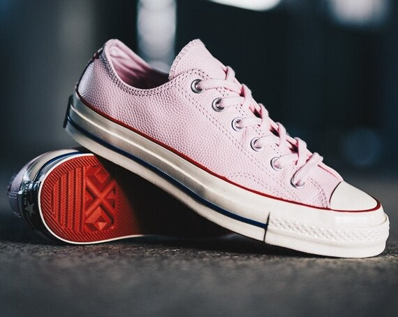 Pink Converse Leather 70s Valentine Red Low Top Chuck Taylor All Star Custom w/ Swarovski Crystal Bling Wedding Kicks Bride Sneakers Shoes