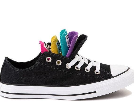 Black Converse Canvas Low Top Multicolor Rainbow Tongue w/ Swarovski Crystal Chuck Taylor Rhinestone Bride Wedding Sneakers Bridal Shoes