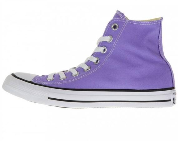 Purple Converse High Top Frozen Lilac Lavender Bride Kicks w/ Swarovski Crystal Rhinestone Wedding Bling Chuck Taylor All Star Sneakers Shoe
