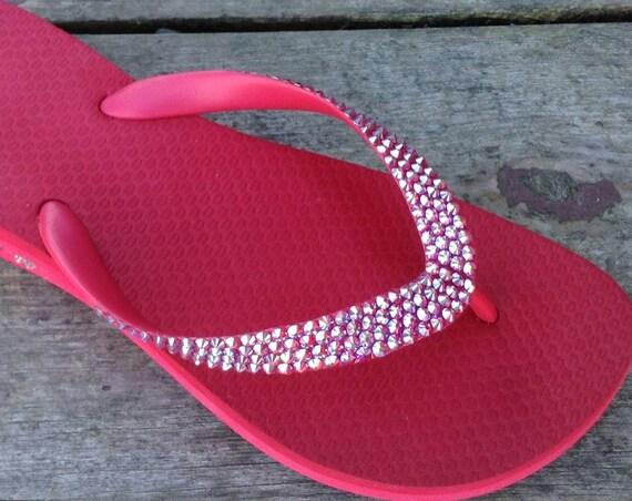 Cherry Red Flip Flops Crystal 1.5 Wedge Custom w/ Swarovski Bling Red Siam AB Cariris Brazilian Low Heel Beach Summer Jewel Sandals Shoes