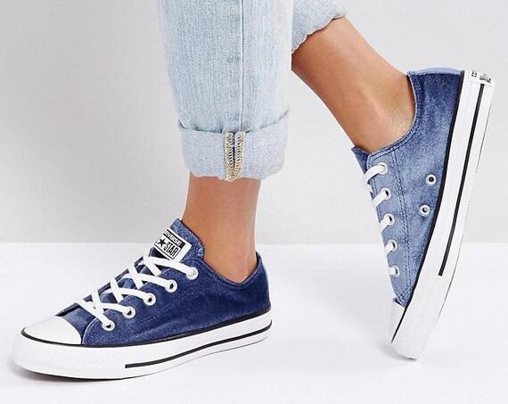Midnight Blue Velvet Converse Navy 8.5 W Custom Chuck Taylor Low Crystal Kicks w/ Swarovski Rhinestone All Star Bride Wedding Sneakers Shoes