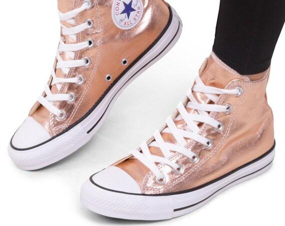 Rose Gold Converse High Top Copper Blush Metallic w/ Swarovski Crystal Wedding Chuck Taylor Rhinestone Bling All Star Bridal Sneakers Shoes