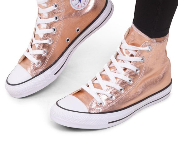 Rose Gold Converse Copper High Top Blush Metallic w/ Swarovski Crystal Wedding Chuck Taylor Rhinestone Bling All Star Bridal Sneakers Shoe