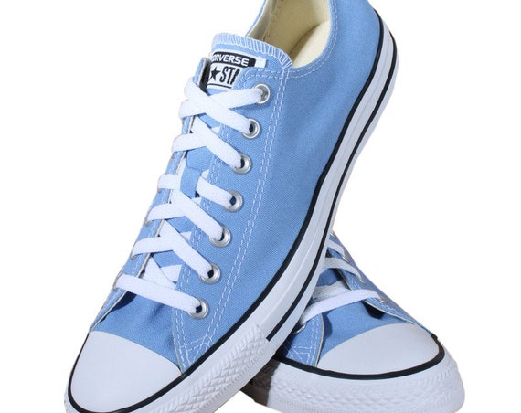 Blue Converse Low Tops Periwinkle Robin Egg Bridal Canvas Bling w/ Swarovski Crystal Rhinestone Chuck Taylor All Star Wedding Sneakers Shoes
