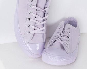 e29552a2fae4 Purple Converse Lilac Fuchsia Lavender Suede Leather Low Chuck Taylor w   Swarovski Crystal Rhinestone Wedding All Star Bride Sneakers Shoe