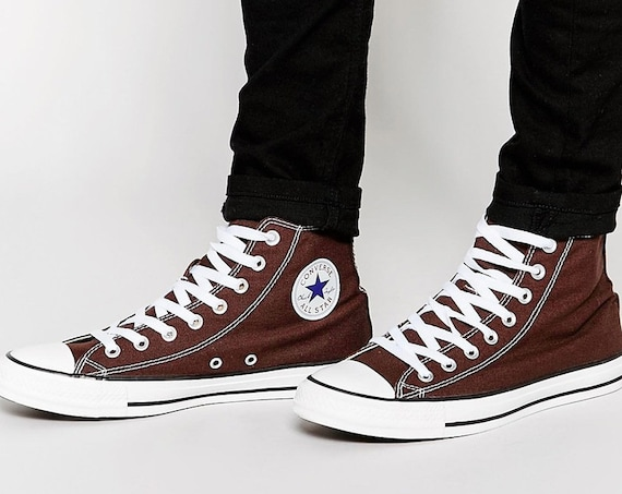 Brown Converse Umber High Kicks Custom w/ Swarovski Crystal Bling Mens Chucks All Stars Chocolate Root Groom Bride Wedding Sneakers Hi Shoes