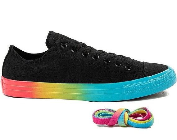 Black Converse Rainbow Low 2019 Custom LGTBQ Pride Canvas w/ Swarovski Crystal Rhinestone Bling Chuck Taylor All Star Wedding Sneakers Shoes