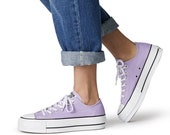 Purple Lilac Converse Platform heels wedge Classic Lift Canvas Low Top Club w Swarovski Crystal Chuck Taylor All Star Wedding Sneakers Shoe